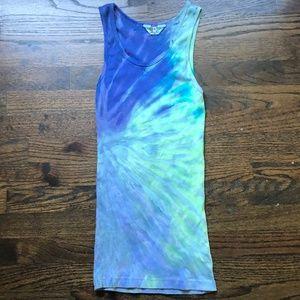 Hard Tail Blue Tie Dye Sexy Tank Yoga Scoop Neck M